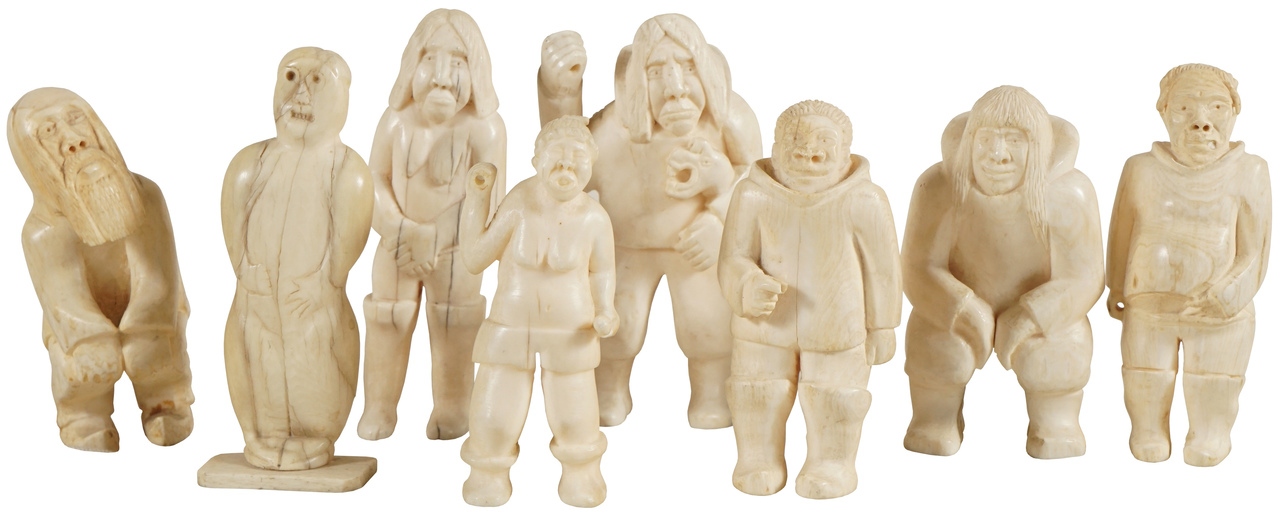 Collection Of 8 Inuit Bone Figures Arenskjold