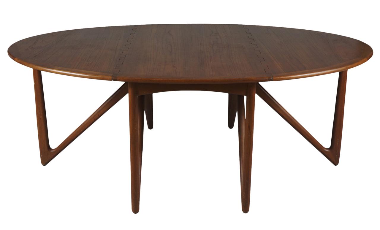 Danish Modern Drop Leaf Dining Table By Kurt 216 Stervig